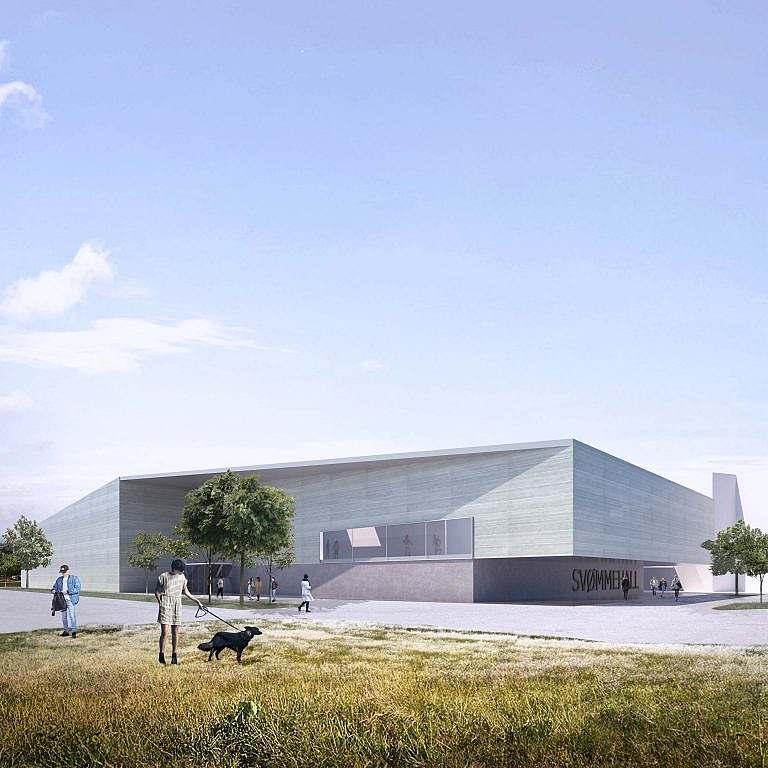 Entwurf der Schwimm- und Sporthalle Porsgrunn